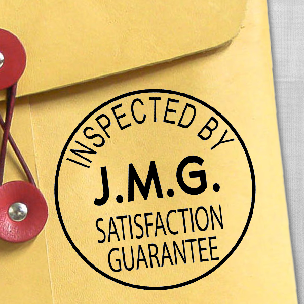 Custom Inspected by Satisfaction Guarantee Stamp Imprint Example