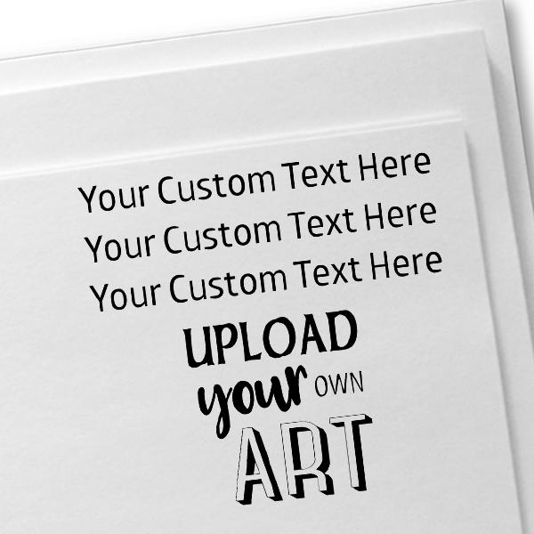 3 Line Custom Upload Art Bottom Rubber Stamp Imprint Example