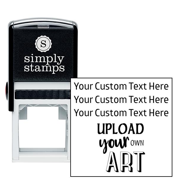 3 Line Custom Upload Art Bottom Rubber Stamp
