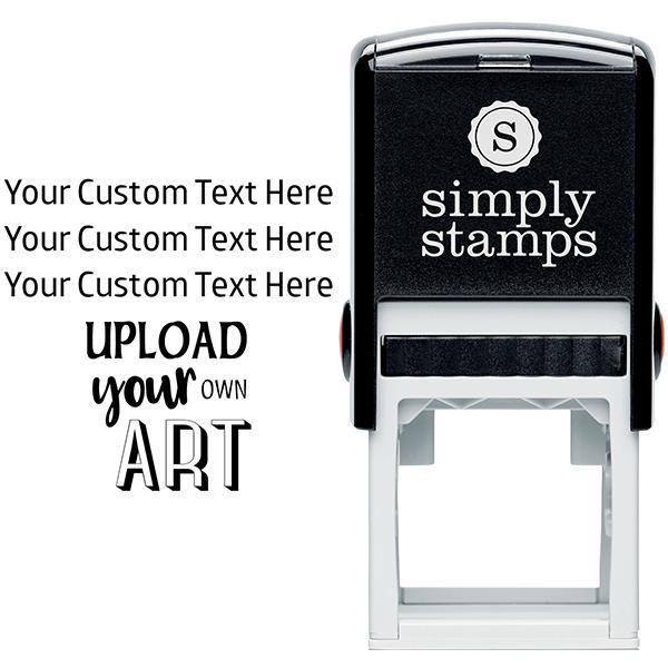 3 Line Custom Upload Art Bottom Rubber Stamp Body and Design
