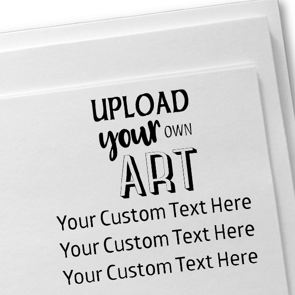 3 Line Custom Upload Art Top Rubber Stamp Imprint Example