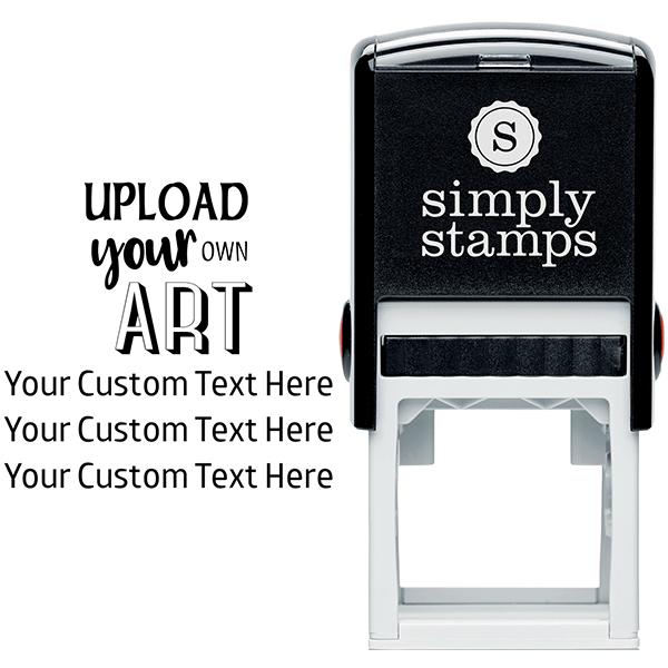 3 Line Custom Upload Art Top Rubber Stamp Body and Design