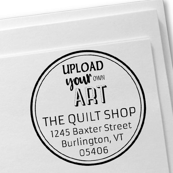 Custom Art Round Return Address Stamp Imprint Example