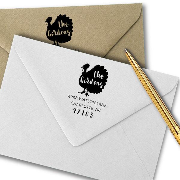 Turkey Custom Animal Return Address Stamp Imprint Example