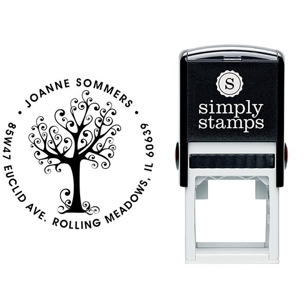 Swirly Tree Round Address Stamp Body and Design