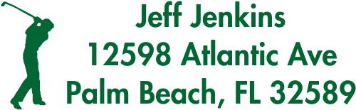 Golfer Custom Address Rubber Stamp