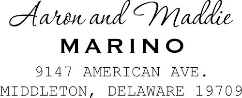 Marino Handwritten Return Address Stamp