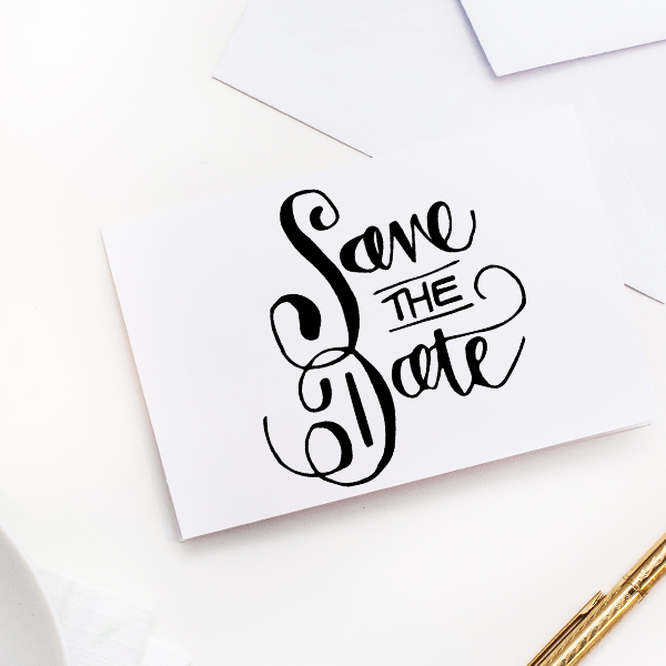 Curly Save the Date Stamp Imprint Example