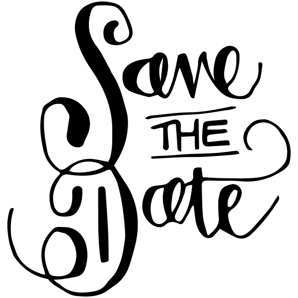 Curly Save the Date Stamp