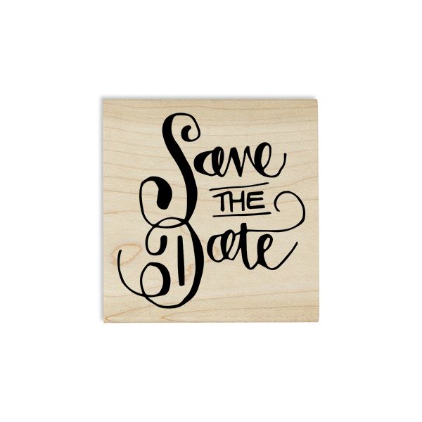 Curly Save the Date Stamp Design on Stamp Body