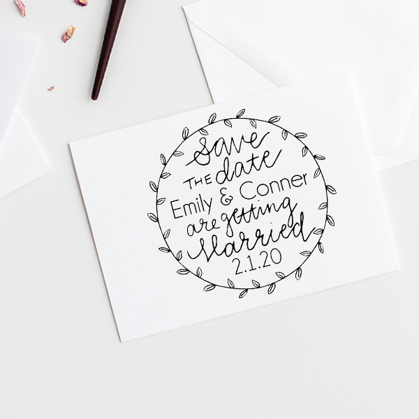 Garden Leaves Save the Date Stamp Imprint Example
