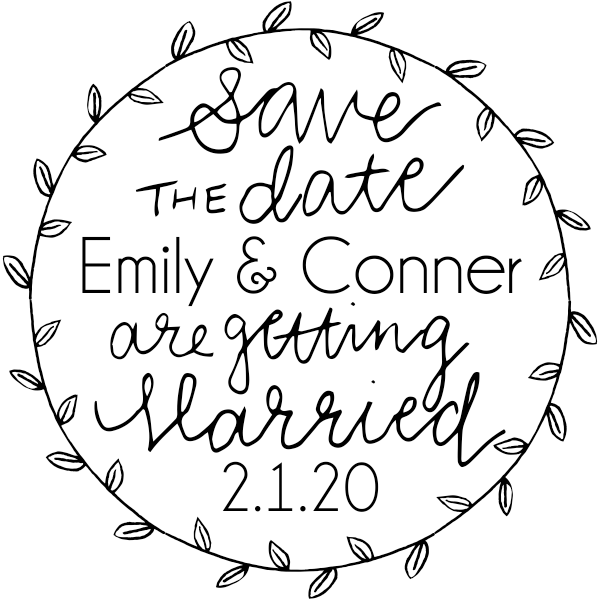 Garden Leaves Save the Date Stamp