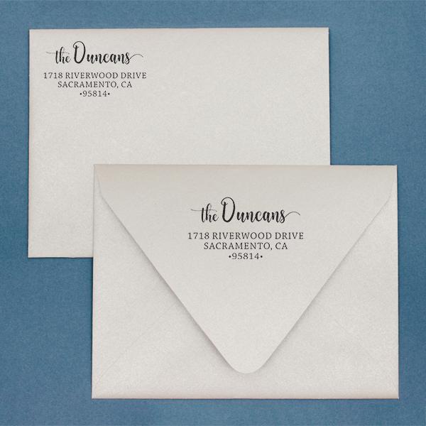Duncan Script Address Stamp Imprint  Example
