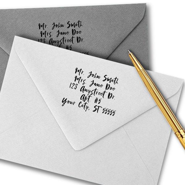 Script Custom 5 Line Stamp Imprint Example
