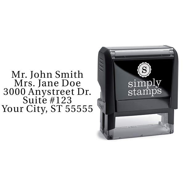 Serif Custom 5 Line Stamp Body and Design