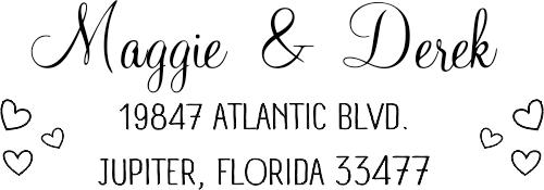 Couple Hearts Handwritten Address Stamp