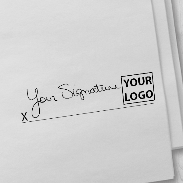 Small Right Logo Signature Stamp Imprint Example