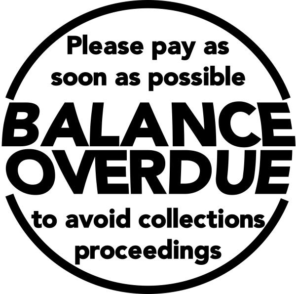 Balance Overdue Round Stamp