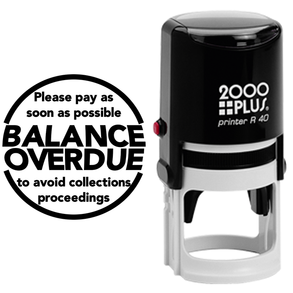 Balance Overdue Round Stamp Body and Design