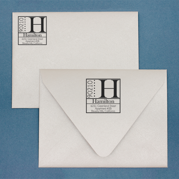 Hamilton Square Address Stamp Imprint Example