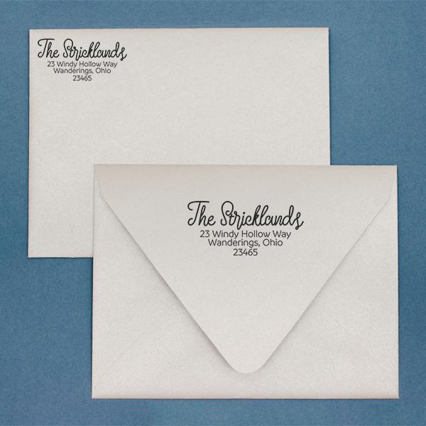Strickland Address Stamp Imprint Example
