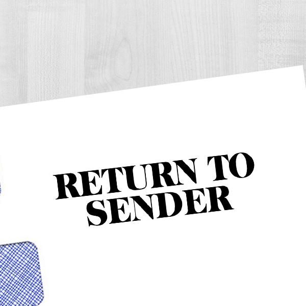 Return to Sender Block Stamp Imprint Example