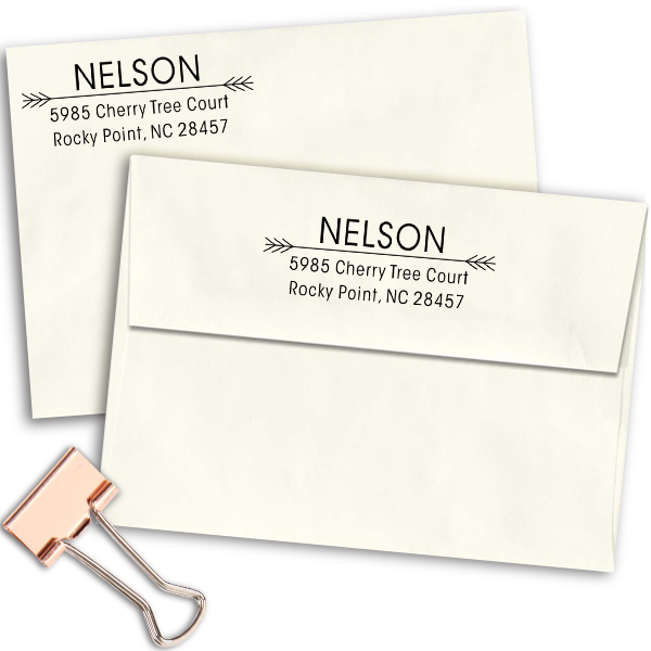 Nelson Double Arrow Address Stamp Imprint Examples on Envelopes