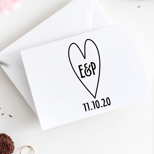 Custom Save the Date Heart Stamp Imprint Example
