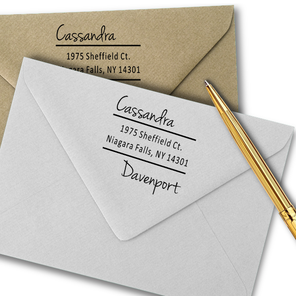 Davenport Offset Address Stamp Imprint Examples on Envelopes