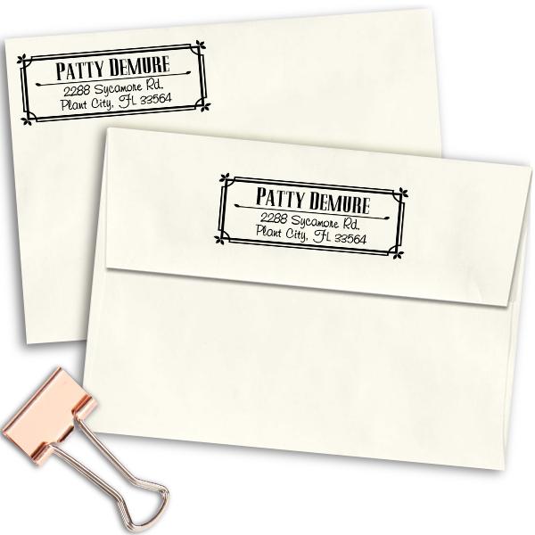 Demure Return Address Stamp Imprint Example
