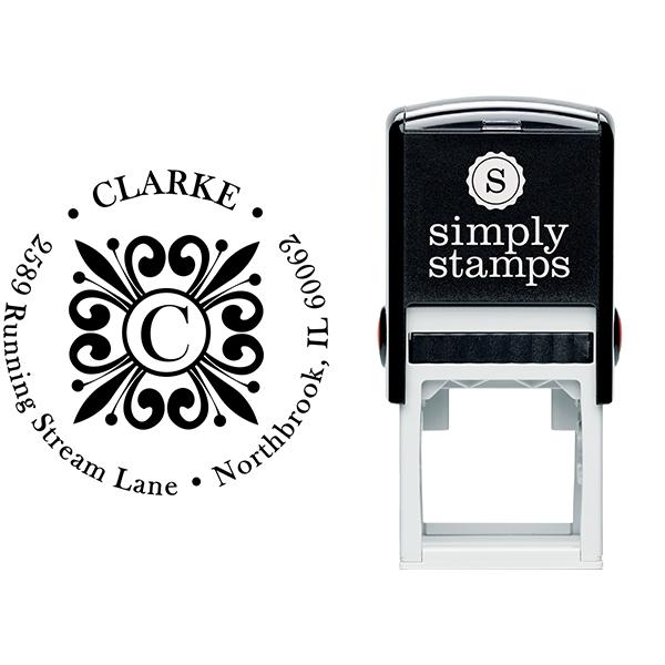 Clarke Deco Monogram Address Stamp Body and Imprint