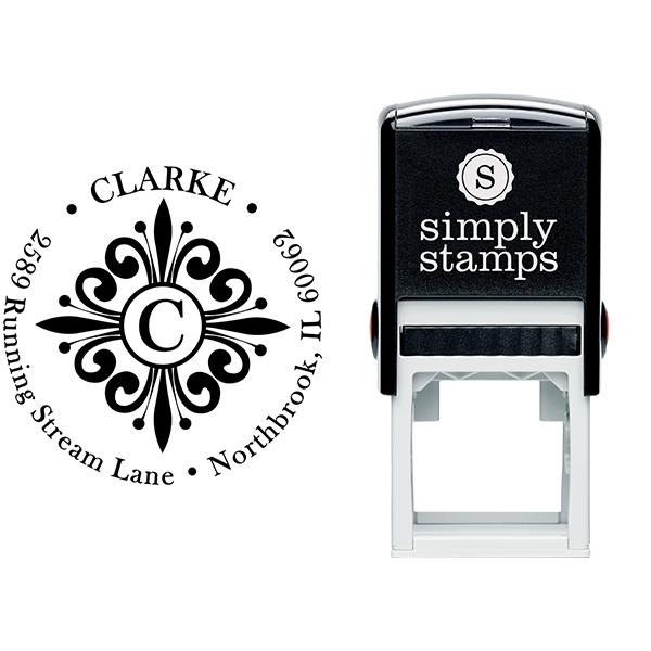 Clarke Deco Monogram Round Address Stamp Body and Imprint