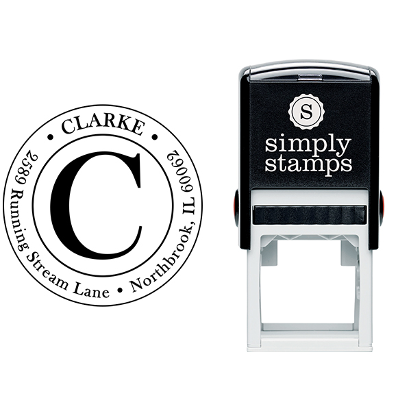 Clarke Large Initial Round Address Stamp Body and Imprint