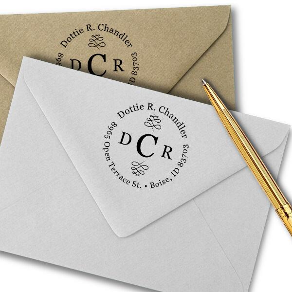 Chandler 3 Letter Monogram Round Address Stamp Imprint Examples on Envelopes