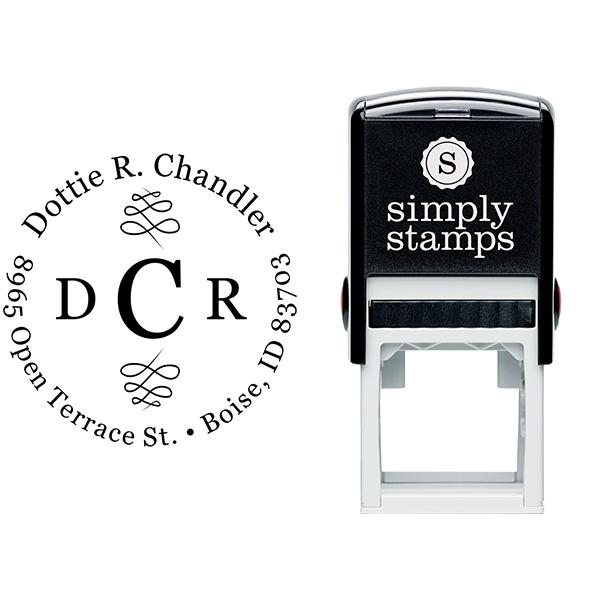 Chandler 3 Letter Monogram Round Address Stamp Body and Imprint