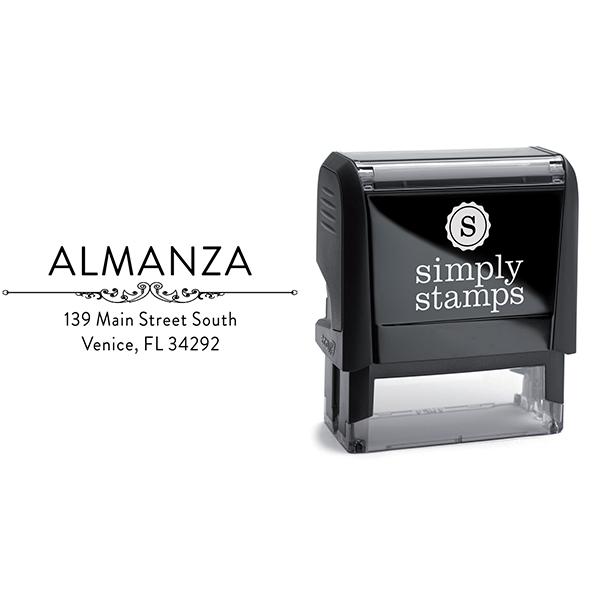 Almanza Deco Rubber Address Stamp Body and Imprint