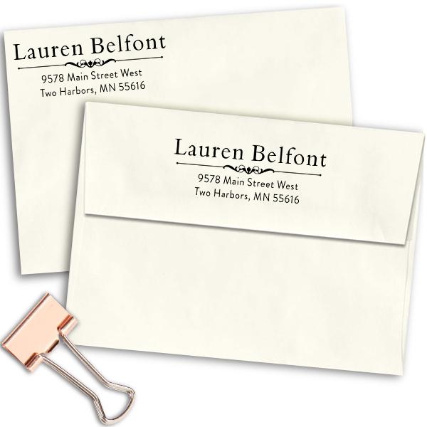 Belfont Deco Rubber Address Stamp Imprint Examples on Envelopes