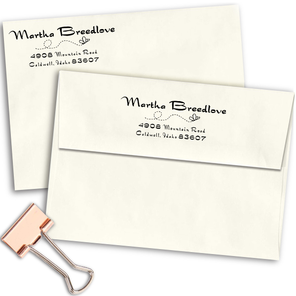 Breedlove Butterfly Rubber Address Stamp Imprint Examples on Envelopes