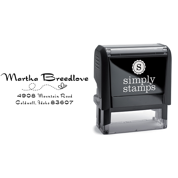 Breedlove Butterfly Rubber Address Stamp Body and Imprint