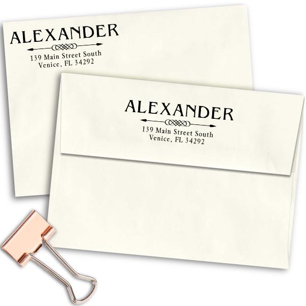 Alexander Deco Arrow Address Stamp Imprint Examples on Envelopes