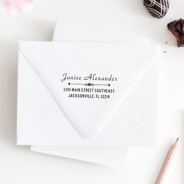 Alexander Vintage Deco Address Stamp Imprint Examples on Envelopes
