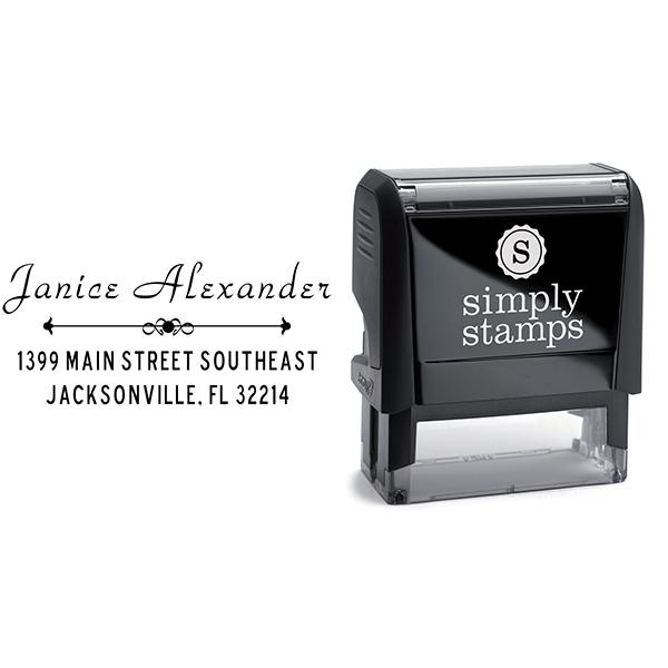Alexander Vintage Deco Address Stamp Body and Imprint