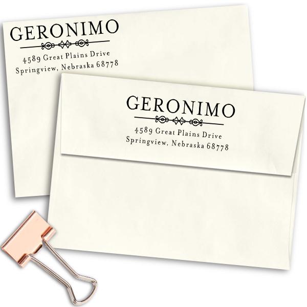 Geronimo Vintage Address Stamp Imprint Examples on Envelopes