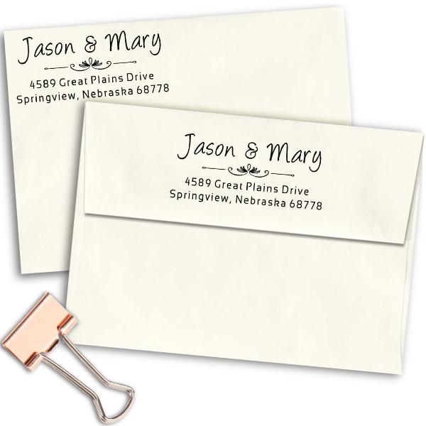 Couples Vintage Deco Address Stamp Imprint Examples on Envelopes