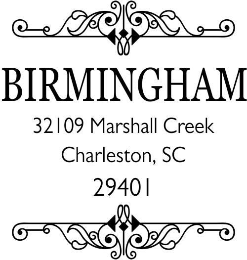 Birmingham Square Vintage Address Stamp