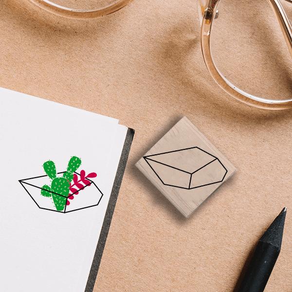 Polygon Terrarium Stamp Lifestyle Photo and Imprint Example