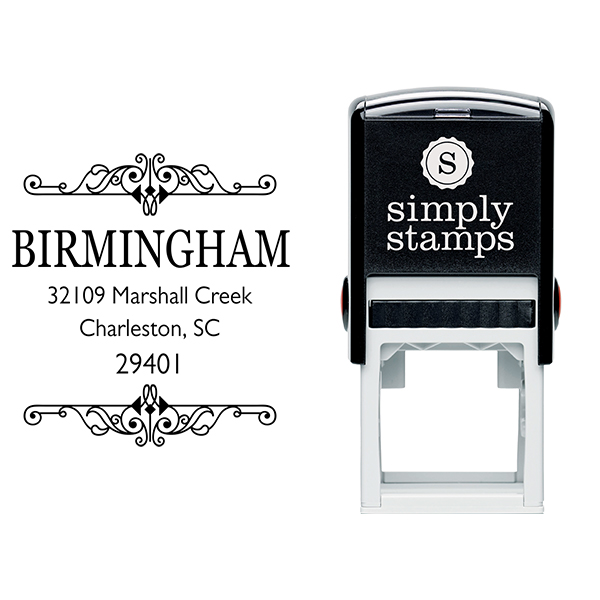 Birmingham Square Vintage Address Stamp Body and Imprint