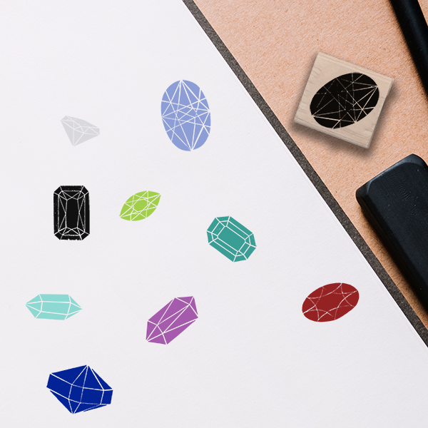 Oval Jewel Stamp Lifestyle Photo and Imprint Example