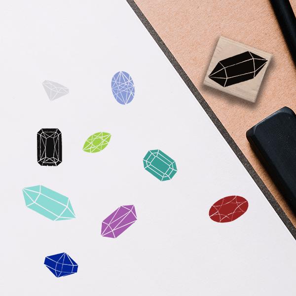 Aquamarine Jewel Stamp Lifestyle Photo and Imprint Example