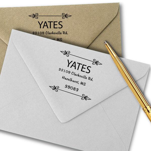 Yates Vintage Deco Square Address Stamp Imprint Examples on Envelopes
